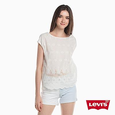 Levis T恤 女裝 短袖刻印TEE 花草圖騰 波浪下擺