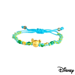 Disney迪士尼金飾 雀躍米奇黃金編織手鍊之一