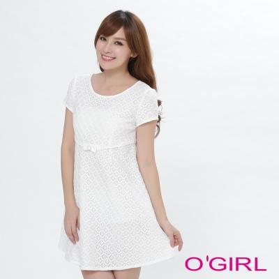 OGIRL甜美迷人剌繡長版上衣