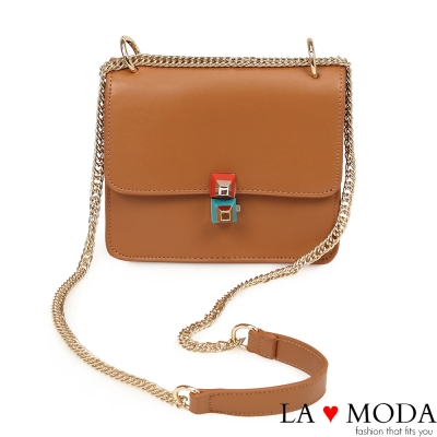 La Moda 氣質百搭特殊扣飾約會宴會必備鍊條包(棕)