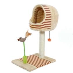 寵喵樂 可愛小鳥貓爬窩/貓抓柱 《紅色》