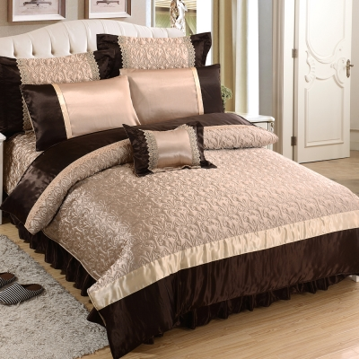 HOYACASA富麗璀璨-金 雙人八件式絲緞蕾絲兩用被床罩組