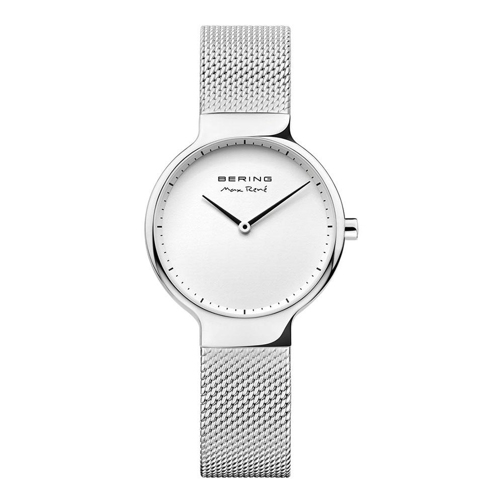 BERING-MAX RENE設計師聯名款 白錶盤x銀 米蘭錶帶31mm