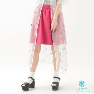 earth music 前打摺後鬆緊腰設計褲裙