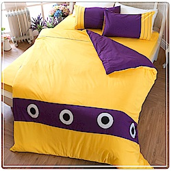 eyah宜雅 北歐時尚立體刺繡雙人被套床包四件組 簡約 金黃