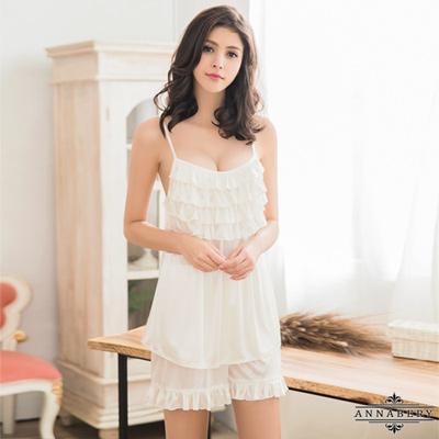 大尺碼Annabery純白戀曲柔緞荷葉領口上衣短褲二件組 白色 L-2L Annabery