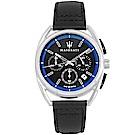 MASERATI 瑪莎拉蒂 經典三眼計時真皮手錶-黑X銀框/40mm