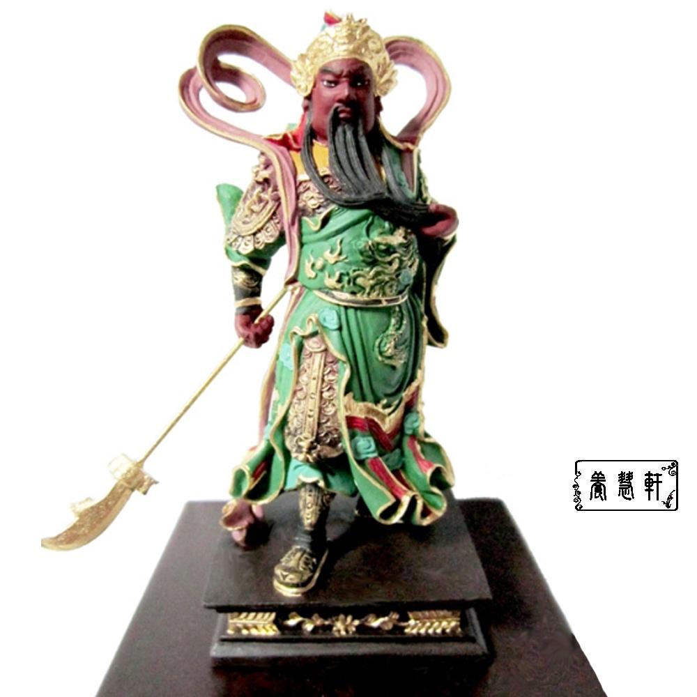 【養慧軒】金剛砂陶土精雕佛像--迦藍關公(彩繪盒裝、含底座)