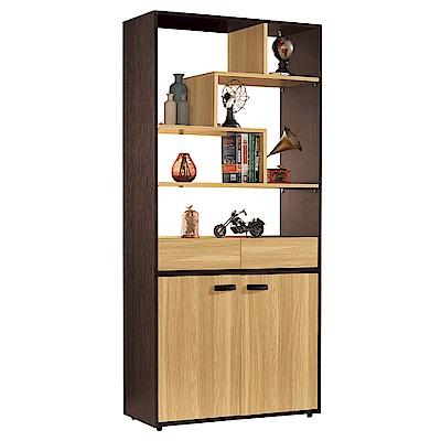 品家居  摩多3尺木紋雙色玄關櫃/隔間櫃-90x35x197.2cm免組