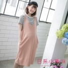 日系小媽咪孕婦裝-韓製哺乳衣~假二件條紋吊帶V領造型洋裝 (共四色)