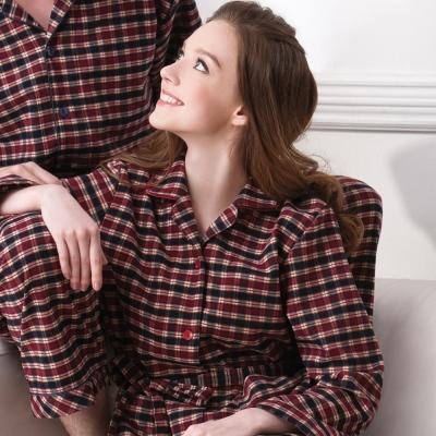 羅絲美睡衣 - 經典紅黑格紋洋裝睡浴袍(紅黑格紋)