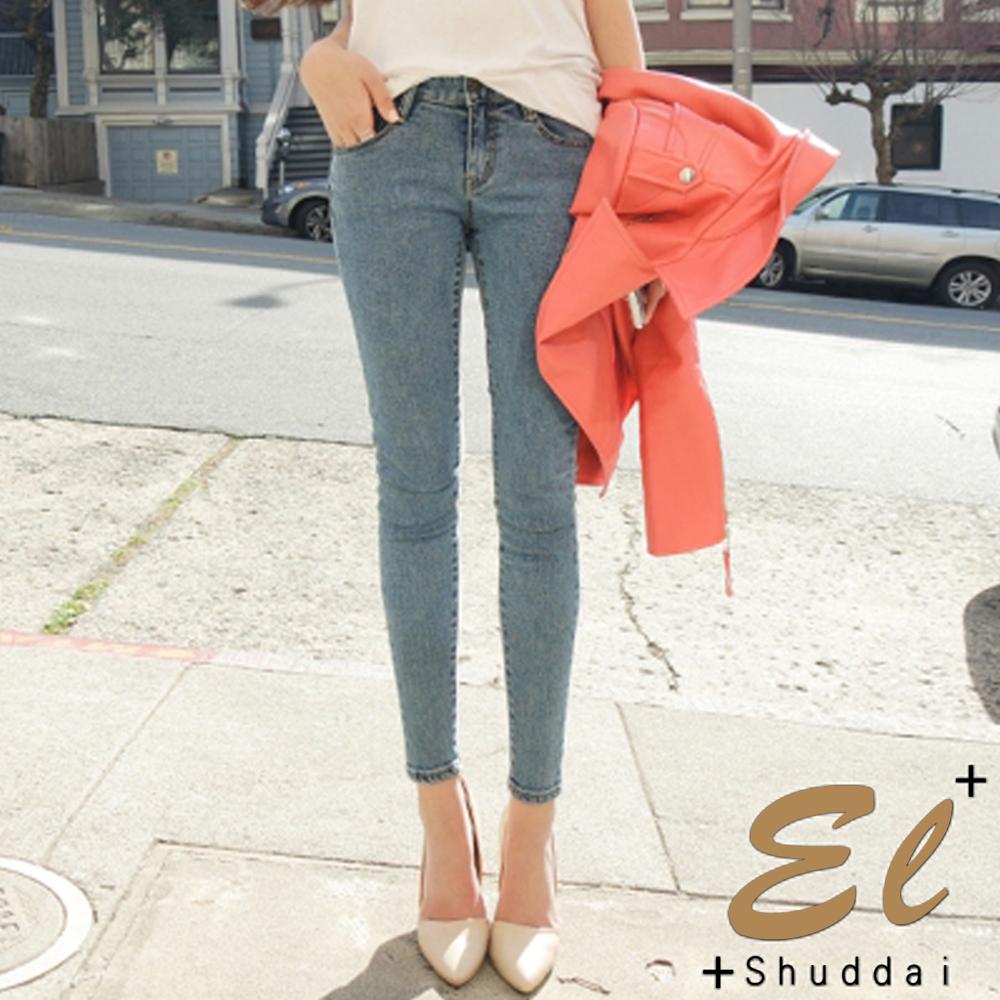 正韓 淺色窄管修身牛仔褲-(淺藍色)El Shuddai