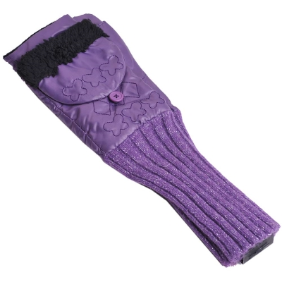 ANNA SUI 愛斯基摩毛毛滾邊抓皺造型露指長版手套(紫)