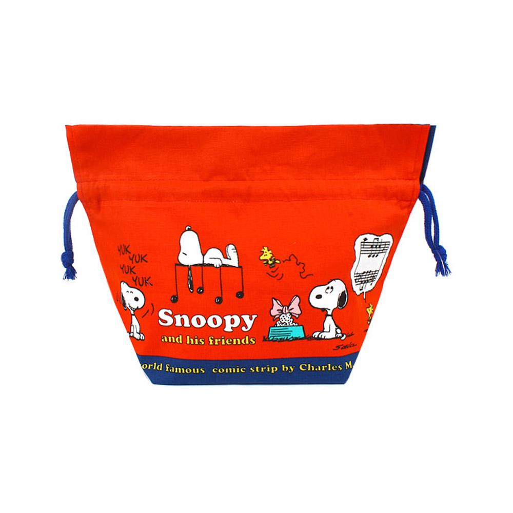 Sanrio SNOOPY棉質縮口便當袋(快樂音符)