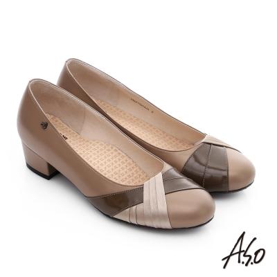 A.S.O 舒活系列 真皮異材立體摺邊低跟鞋 卡其色