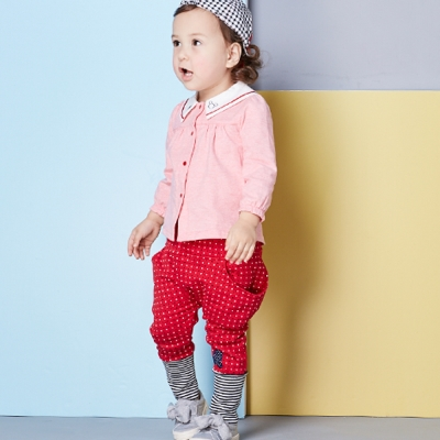 Disney baby 米妮系列甜心點點哈倫褲 酒紅色