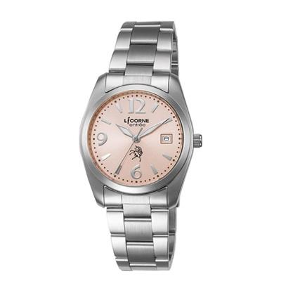 LICORNE 恩萃 Entree 簡約時尚設計都市腕錶-粉紅x銀白/36mm