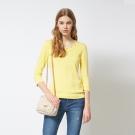 簡約純色釘珠素面好感度UP針織黃上衣