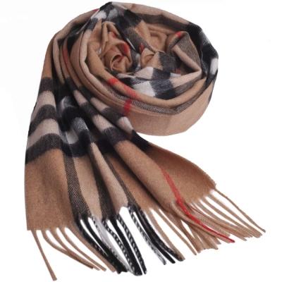 BURBERRY 經典大格紋喀什米爾羊毛圍巾(駝色)