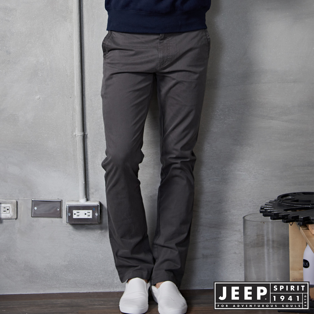 JEEP 美式型男風格休閒褲 灰綠
