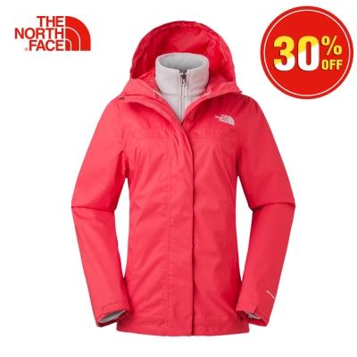 The North Face北面女款粉紅色透氣絨面三合一外套