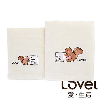 Lovel 天然有機棉紗布毛巾禮盒組-松鼠Family