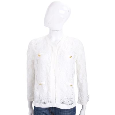 EDWARD ACHOUR PARIS 白色蕾絲拼接金釦外套