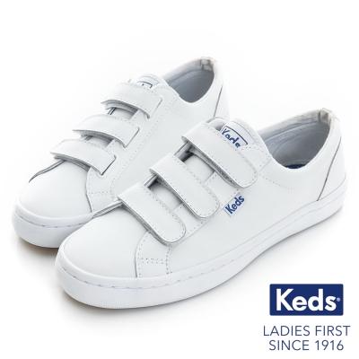 Keds 時尚運動魔鬼氈皮質休閒鞋-白