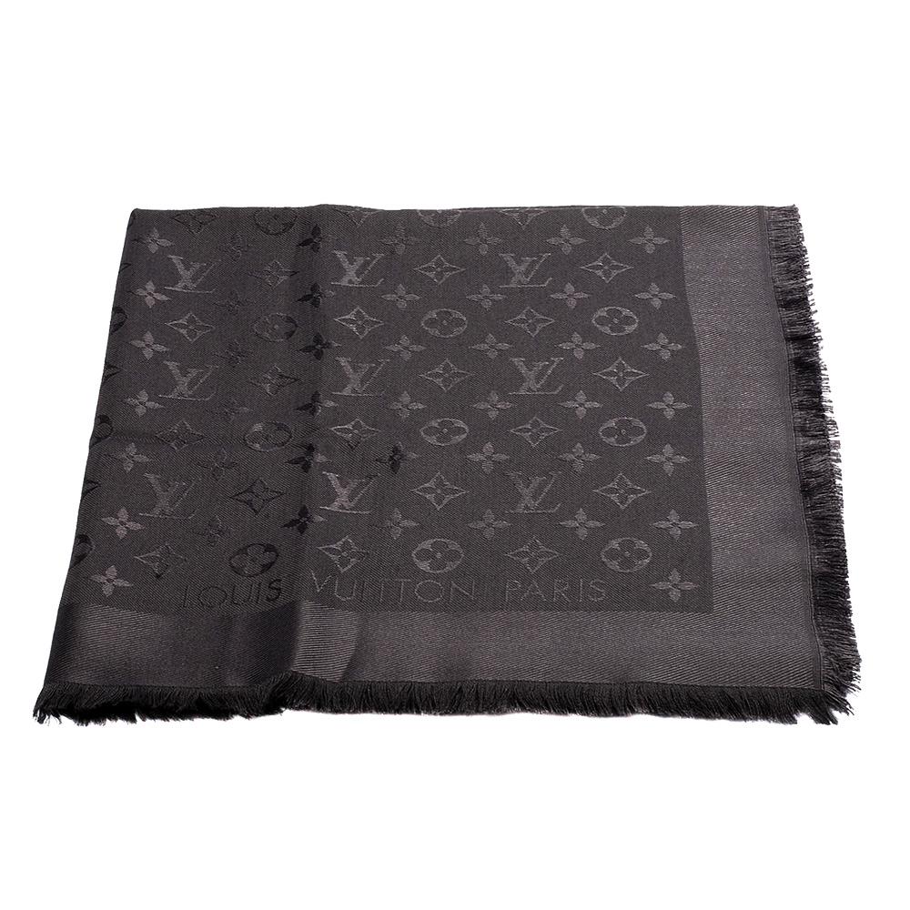 LV M74752 經典Monogram花紋羊毛混絲披肩/圍巾 (灰色)