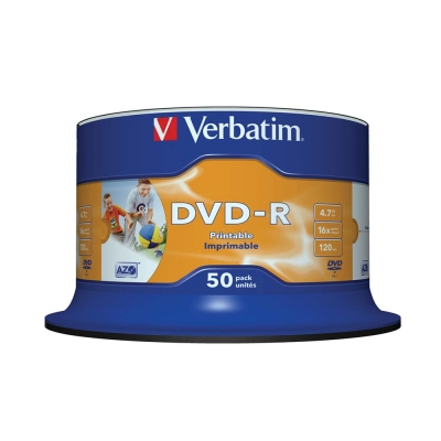Verbatim 威寶 DVD-R 4.7G 16X 50片 噴墨打印 光碟片