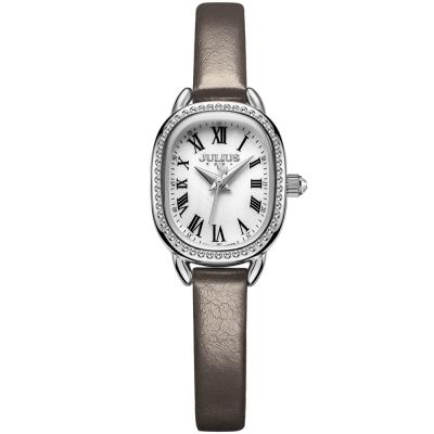 JULIUS聚利時 繁星圍繞復古設計皮帶錶-白x墨灰/20.5X25mm