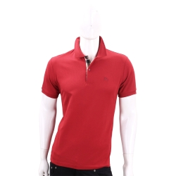 BURBERRY 格紋開襟網眼棉質POLO衫(男款/軍紅色)