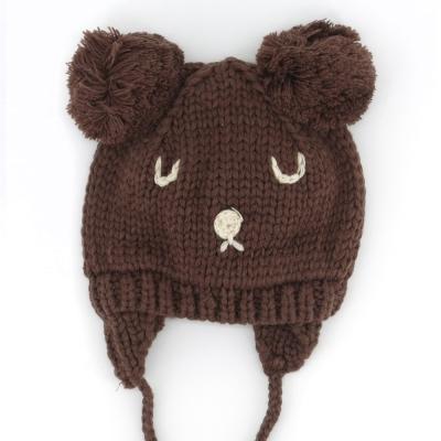 小熊 毛球耳朵 加厚護耳帽-共4色