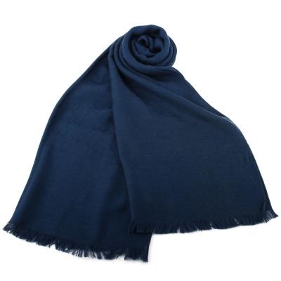 GUCCI 經典滿版LOGO真絲羊毛圍巾披肩-藍色