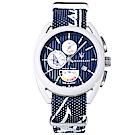 MASERATI 瑪莎拉蒂 經典帆船競賽計時手錶-藍X白框/40mm