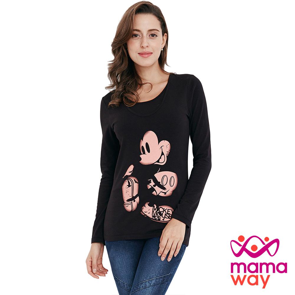 孕婦裝 哺乳衣 迪士尼黑影米奇孕哺彈性T Mamaway