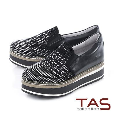 TAS 滿版漸層雙色水鑽厚底內增高懶人鞋-注目黑