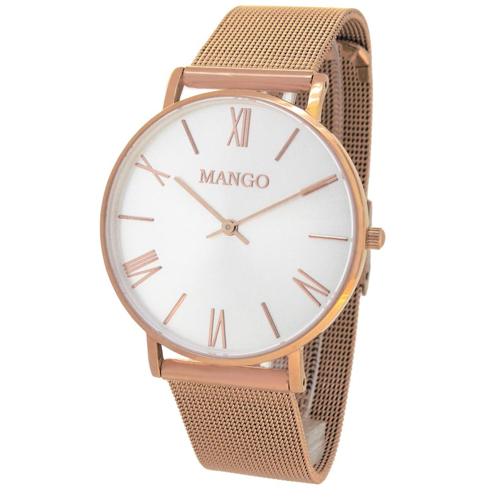 MANGO 絃樂獨奏時尚手錶(MA6715L-80R)-銀x玫瑰金/37mm