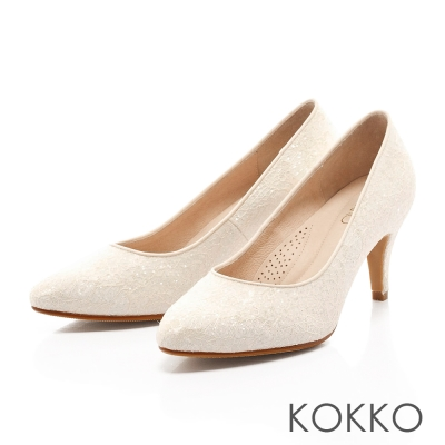 KOKKO-璀璨幸福蕾絲手工高跟鞋-氣質白