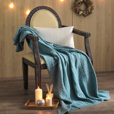 MONTAGUT-針織毛線毯(藍綠色)