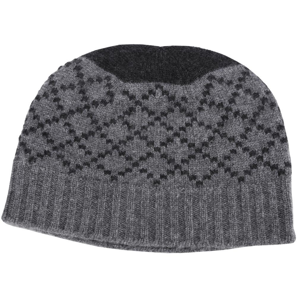 GUCCI 灰x黑色鑽石織紋毛帽(100%CASHMERE)