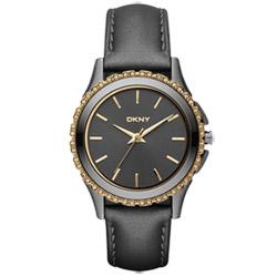 DKNY 絕代魅力晶鑽都會腕錶-深灰/32mm