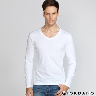 GIORDANO 男裝簡約素色輕磨毛羅紋V領長袖T恤 - 01 經典白色