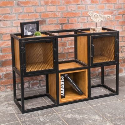 Bernice-希德仿舊工業風開放式六格收納櫃/書櫃-90x30x60cm