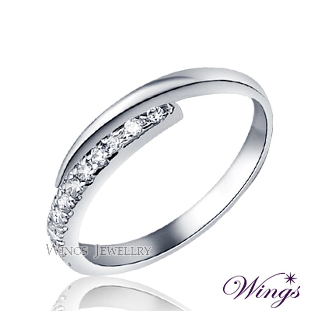 Wings 星盼 纖細美麗的優雅 精鍍白K金戒指 尾戒