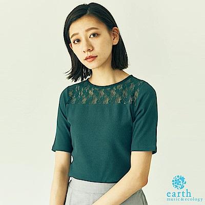 earth music 花朵蕾絲拼接合身短袖上衣