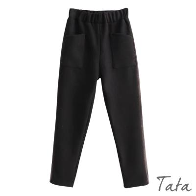 拼接絲絨邊毛呢褲 共二色 TATA