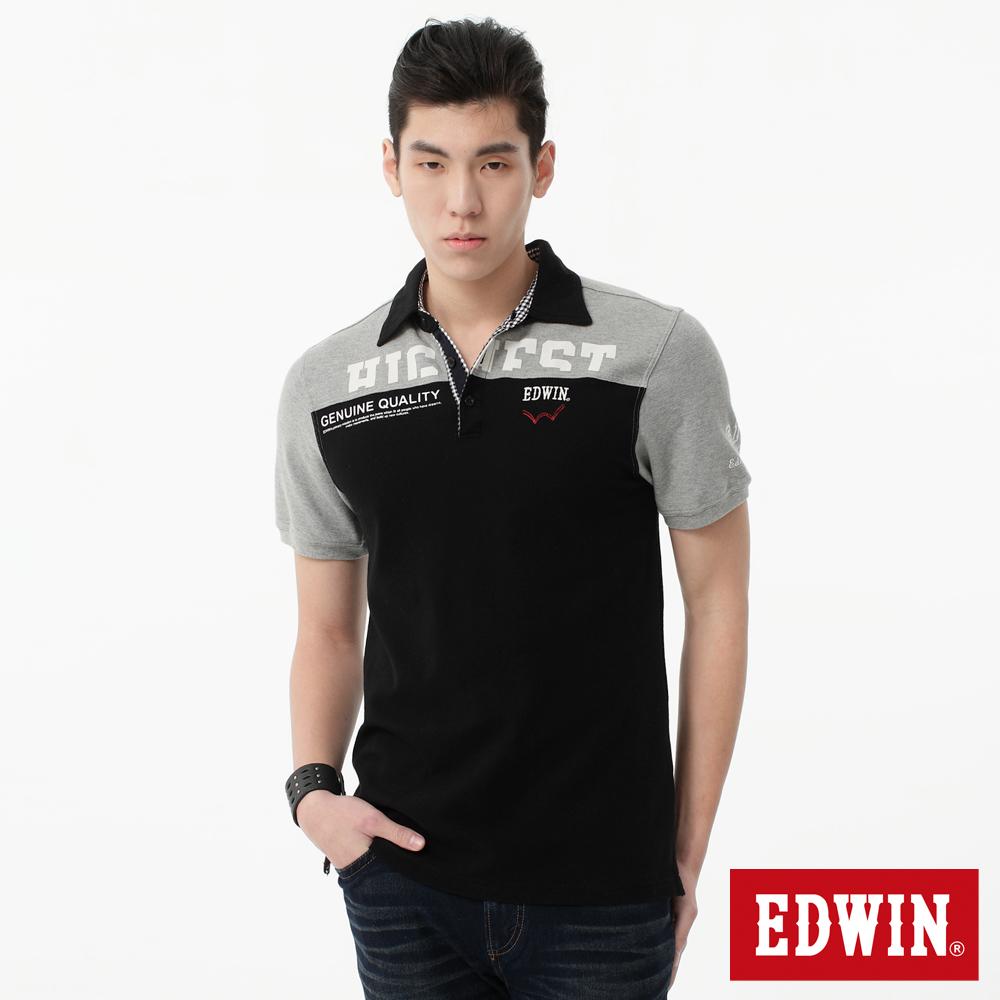 EDWIN POLO衫 植絨剪接POLO衫-男-黑色