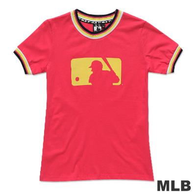 MLB-美國職棒大聯盟LOGO印花撞色造型T恤-深粉紅(女)