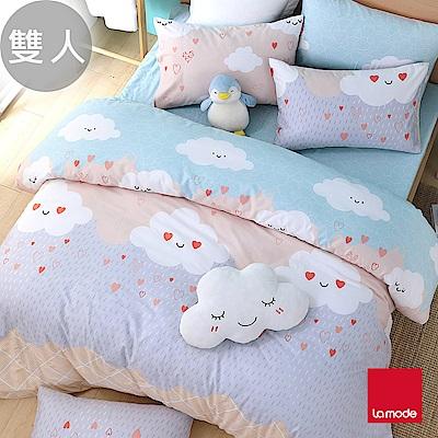 La Mode寢飾 雲朵甜筒環保印染100%精梳棉兩用被床包組(雙人)